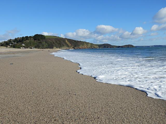 Pentewan beach, Cornwall on a sunny day