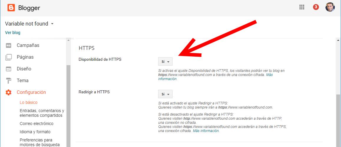 Configurando HTTPS en blogger