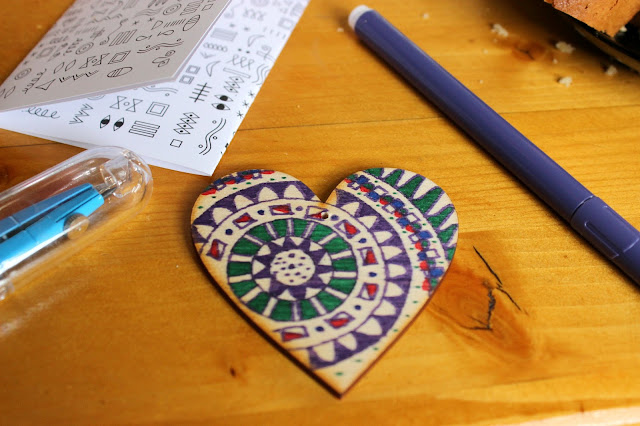 my colored mandala wooden heart