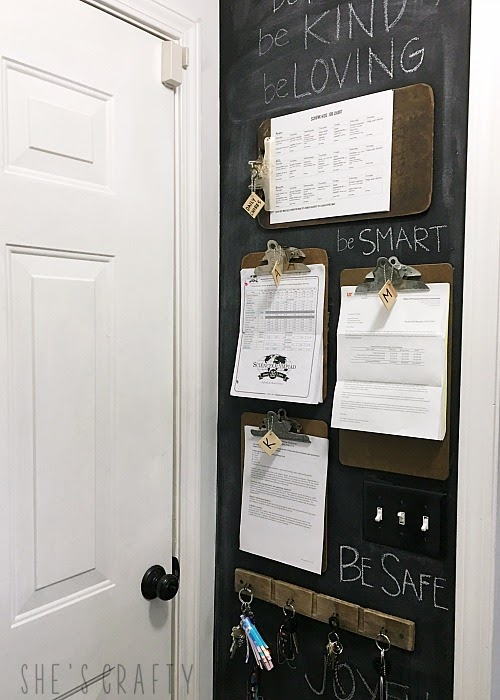 Chalkboard Wall Clipboard Command Center, key holder