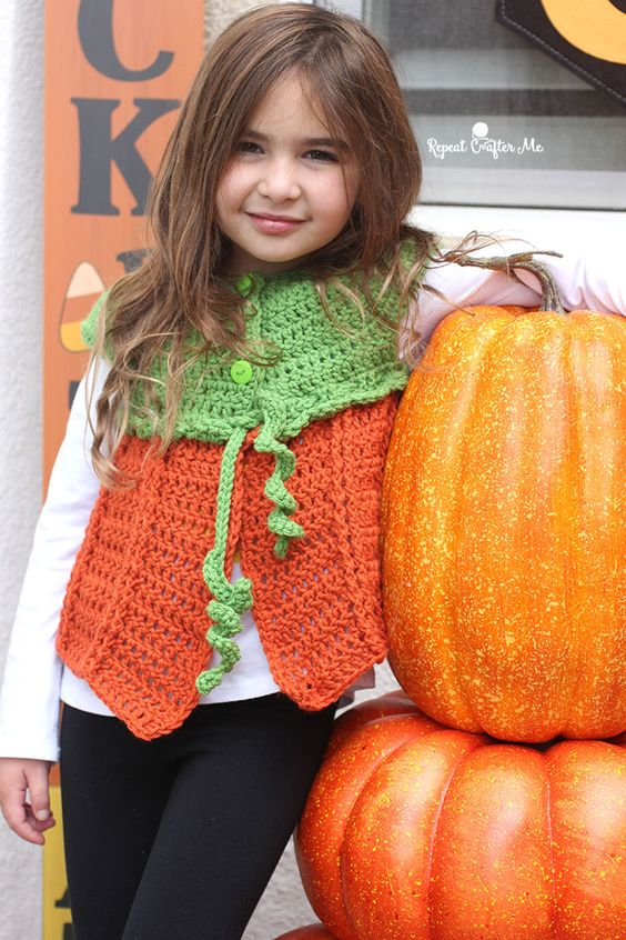 Crochet Pumpkin Vest by Repeat Crafter Me
