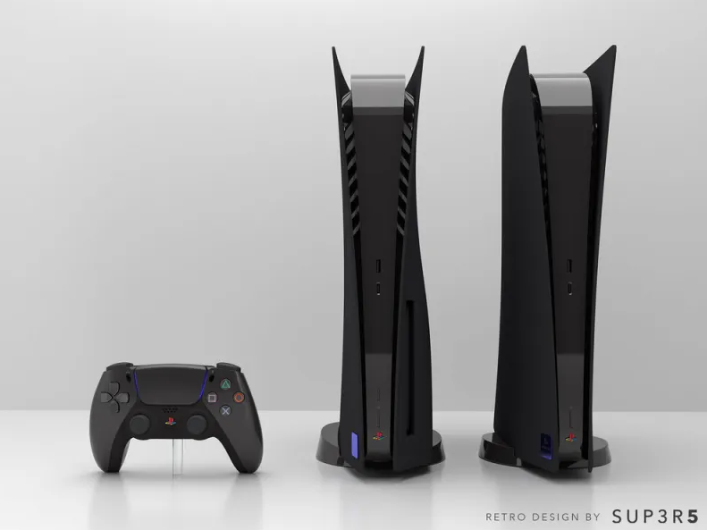 PlayStation 5 in the style of PS2