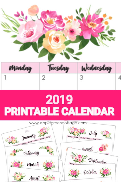 Printable calendar 2019 in pdf format. With 6 design options to print, this gorgeous floral calendar printable will help you make a great start into 2019!