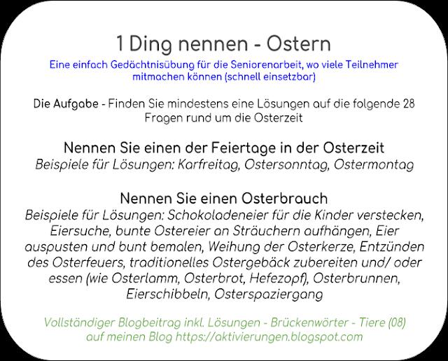 Aktivierungsideen Osterzeit, Beschäftigung Ostern, Osterbräuche Rätsel
