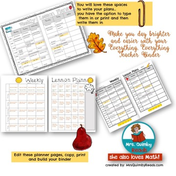 editable teacher binders, weekly lesson plans, MrsQuimbyReads, monthly newsletters, teacher notebook
