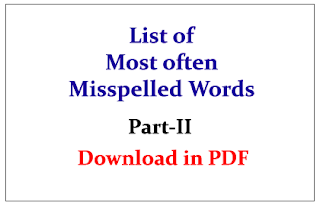 List of Most often Misspelled Words in English Questions Part-II- Download in PDF