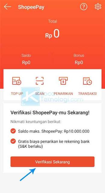 Sekarang Anda hanya perlu mengklik tombol Verifikasi Sekarang untuk segera memverifikasi ShopeePay pada akun Shopee Anda.