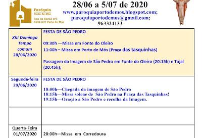 Avisos Paroquiais 28/06 a 5/07 de 2020
