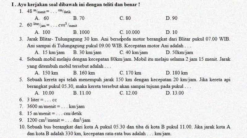 Soal Penilaian Harian Matematika Kelas 5 KD 3.3 Kecepatan dan Debit