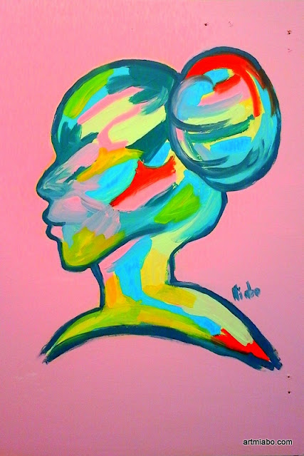 Silhouette of a woman abstract art by miabo enyadike my art this week is all about using colors to create a simple silhouette of a woman and a man