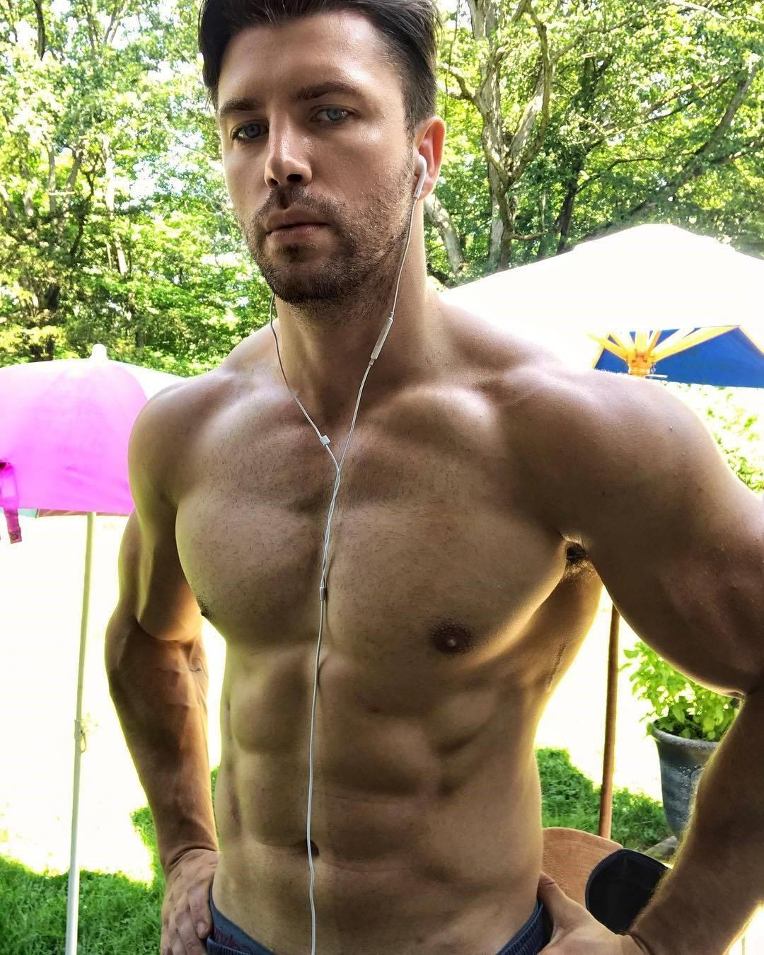 manly-bare-chest-daddy-listening-music-perky-pecs