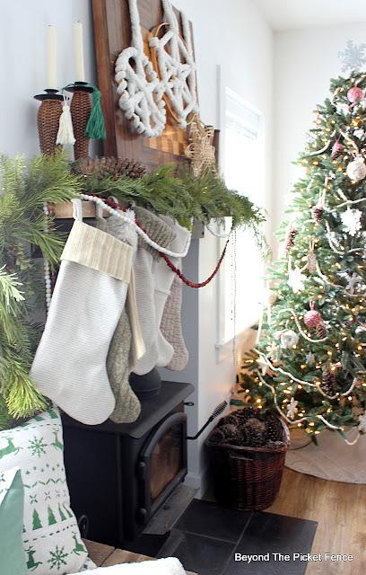 Natural Boho Christmas Mantel