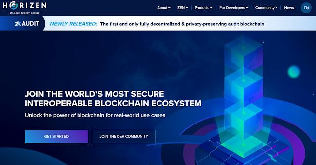 Screenshot Website Horizen (ZEN) Cryptocurrency