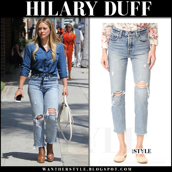 Hilary Duff in light blue ripped jeans levis wedgie what she wore july 24 2017