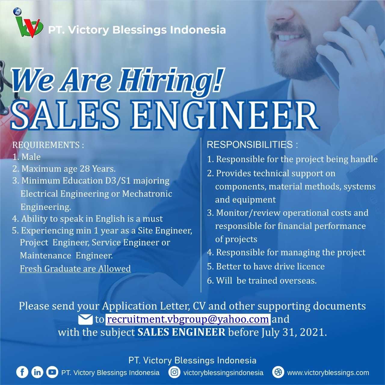 Lowongan kerja Sales engineer