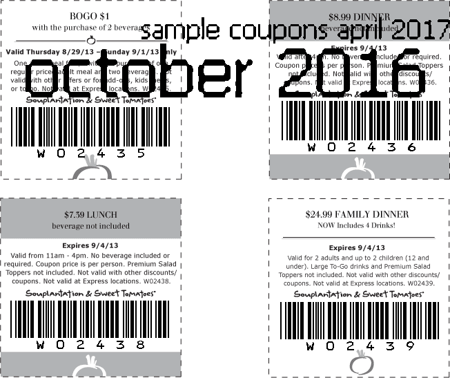 photo relating to Souplantation Printable Coupons titled Souplantation coupon april 2019