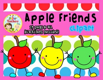 Apple Friends Clipart Freebie by 2 Super Teachers