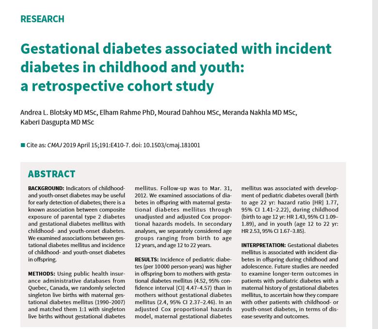riesgo de diabetes tipo 2 en la descendencia