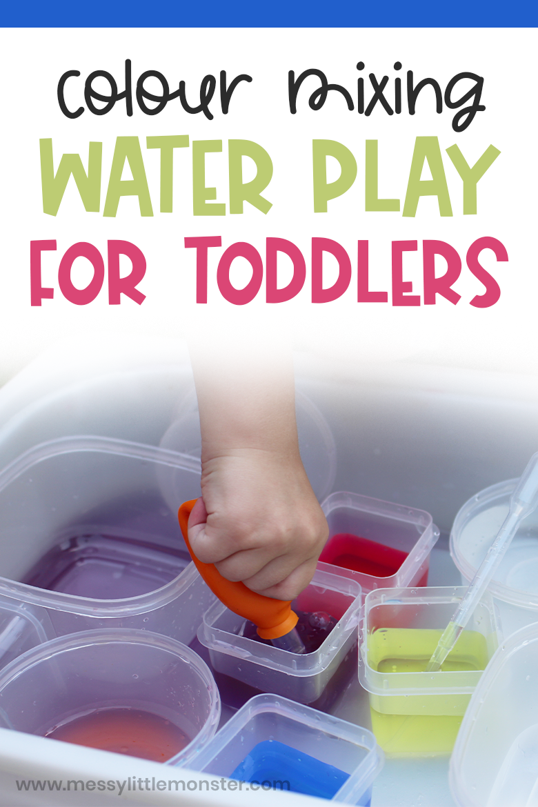 Water play for kids. East colour mixing activity and water activity for toddlers and preschoolers.