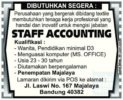 Loker Staff Akunting di Majalaya
