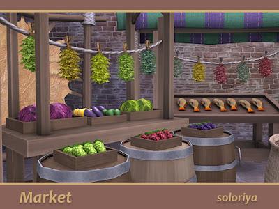 https://www.thesimsresource.com/artisMarket Рынок для The Sims 4 В этом наборе есть все для вашего рынка. В набор входит 19 предметов: - телега - овощи - фрукты - виноград - капуста - колбасы - сушеные травы - два типа кувшинов - сушилка с шкурой животного - корзина с семенами - большие и маленькие мешки - стол с ковром - стойло с рыбой - простой ларек - стойло с палаткой - палатка - бочка Автор: soloriyats/soloriya/downloads/details/category/sims4-sets-objects-miscellaneous/title/market/id/1374764/