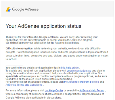 Google AdSense application status was rejected due to difficult site navigation
