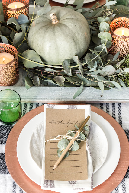 thanksgiving table decor copper and green place settings
