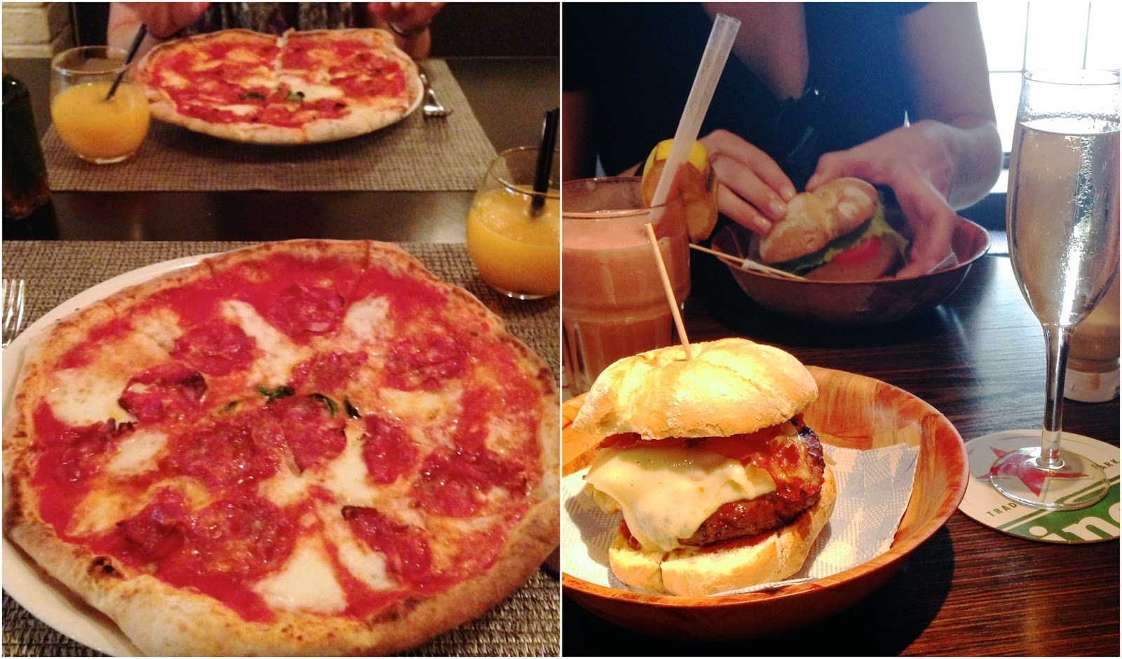 Pizza at Restaurante Margherita and a burger at Makamaka Beach Bar
