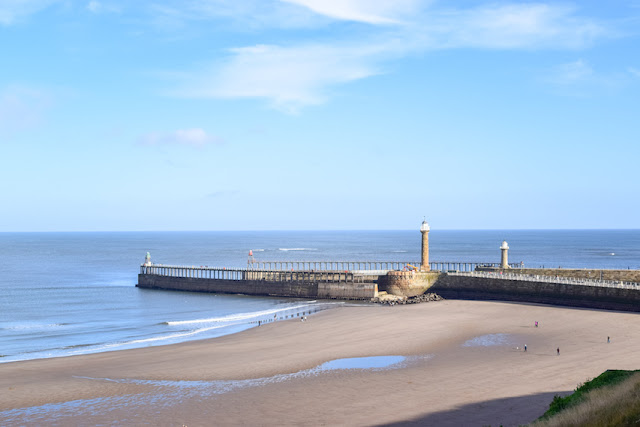 Walking Whitby to Sandsend - Whitby lighthouse and pier