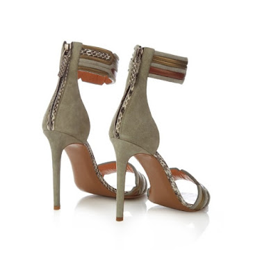 Peter Pilotto Geometric Ankle Strap Suede Sandals in gray