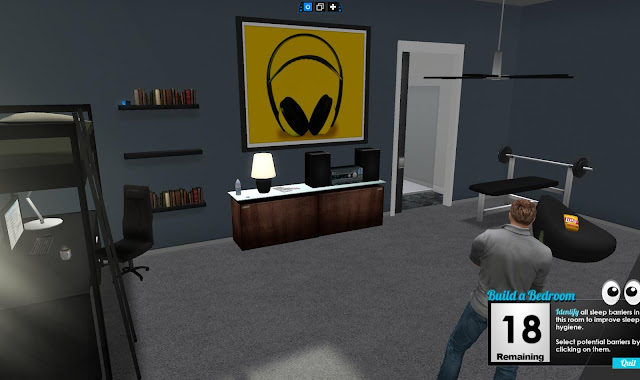A virtual man stands in a bedroom. There is a poster of headphones on the wall above a cabinet with a stereo. There is a benchpress in the corner and books on a shelf on the wall.