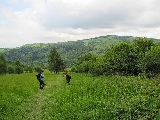Przed nami dolina Iwelki i wzniesienie Chyrowej (694 m n.p.m.).