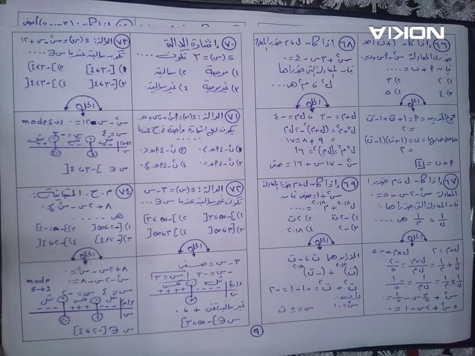 99 سؤال اختيار من متعدد بالحل لن يخرج عنهم امتحان الرياضيات للصف الاول الثانوي ترم أول نظام جديد 10