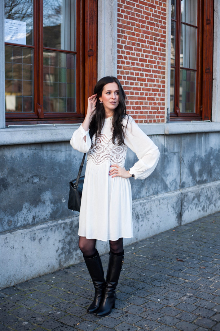 Outfit: white Edwardian style dress with tall boots