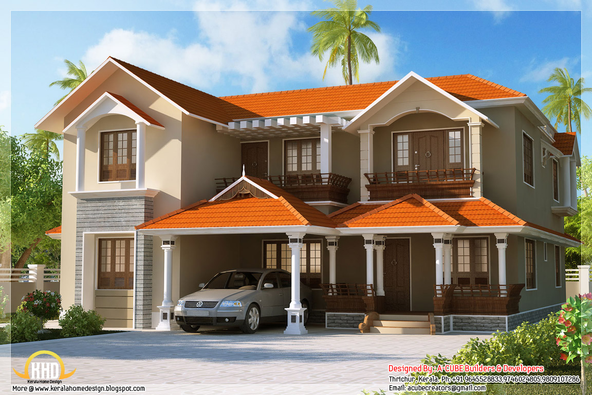 Awesome 4 bedroom kerala home elevation kerala house for Beautiful houses pictures in kerala