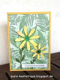Stampin up gänseblümchenglück und stanze ich schick dir ein lächeln grußkarte ermutigung brusho aquarell technik
