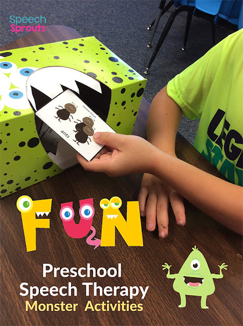 "This green tissue box monster with jagged white construction paper teeth is a fun monster activity for preschool speech therapy. The child ""feeds"" the hungry monster a card after practicing the targeted skill."