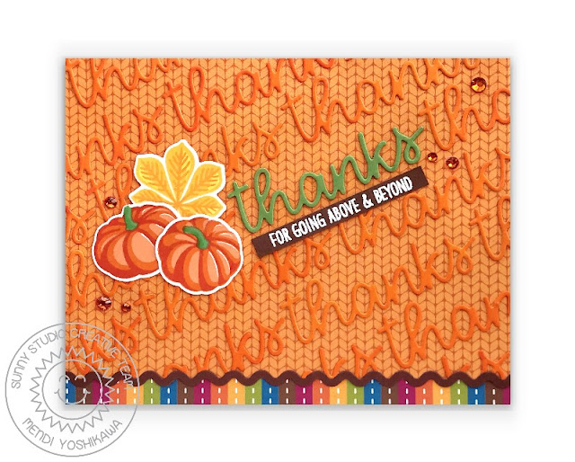 Sunny Studio Fall Thanks Card (using Sweater Weather Paper, Crisp Leaves & Words of Gratitude Stamps, Icing Border & Thank You Word Dies)