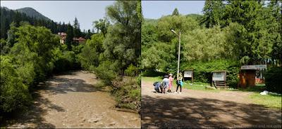 Se ajunge in camping, in dreapta sunt panourile informative pentru traseul Piatra Soimilor.