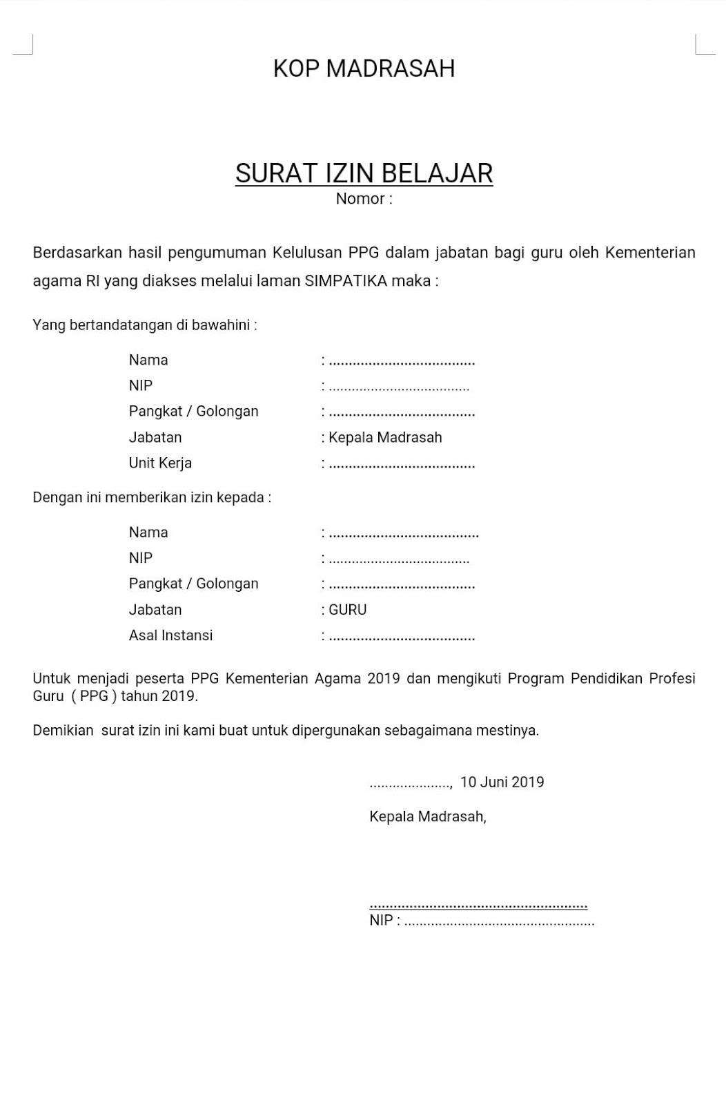 Contoh Surat Izin Sekolah Madrasah Download Contoh Lengkap Gratis