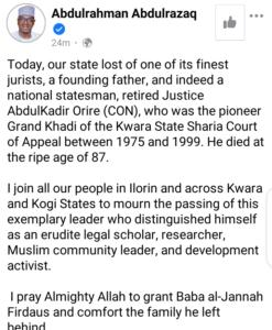 Kwara's Pioneer Grand Khadi, Justice Abdulkadir Orire Is Dead