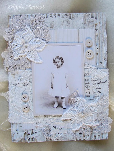 shabby white mixed media collage by AppleApricot