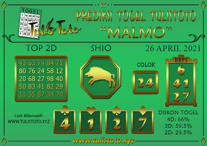 Prediksi Togel MALMO TULISTOTO 26 APRIL 2021