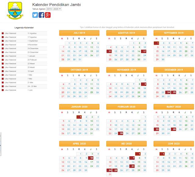 kalender pendidikan provisi jambi 2019/2020