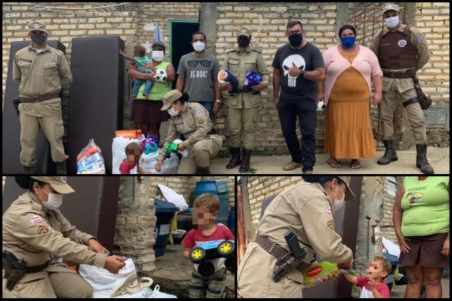 Família recebe presentes da Patrulha Solidária da PM em Vitória da Conquista