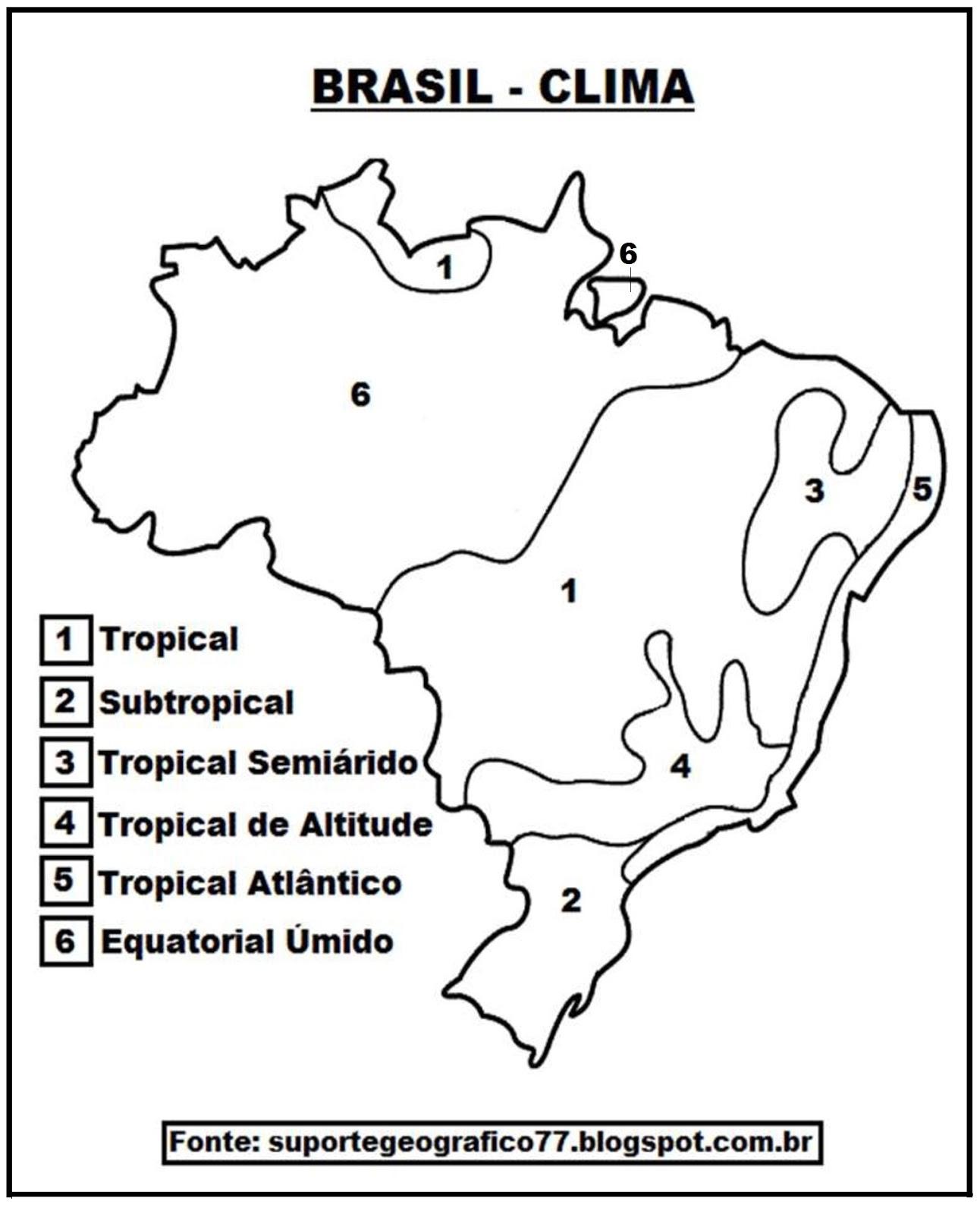 Mapa Climas Do Brasil Para Colorir Suporte Geografico