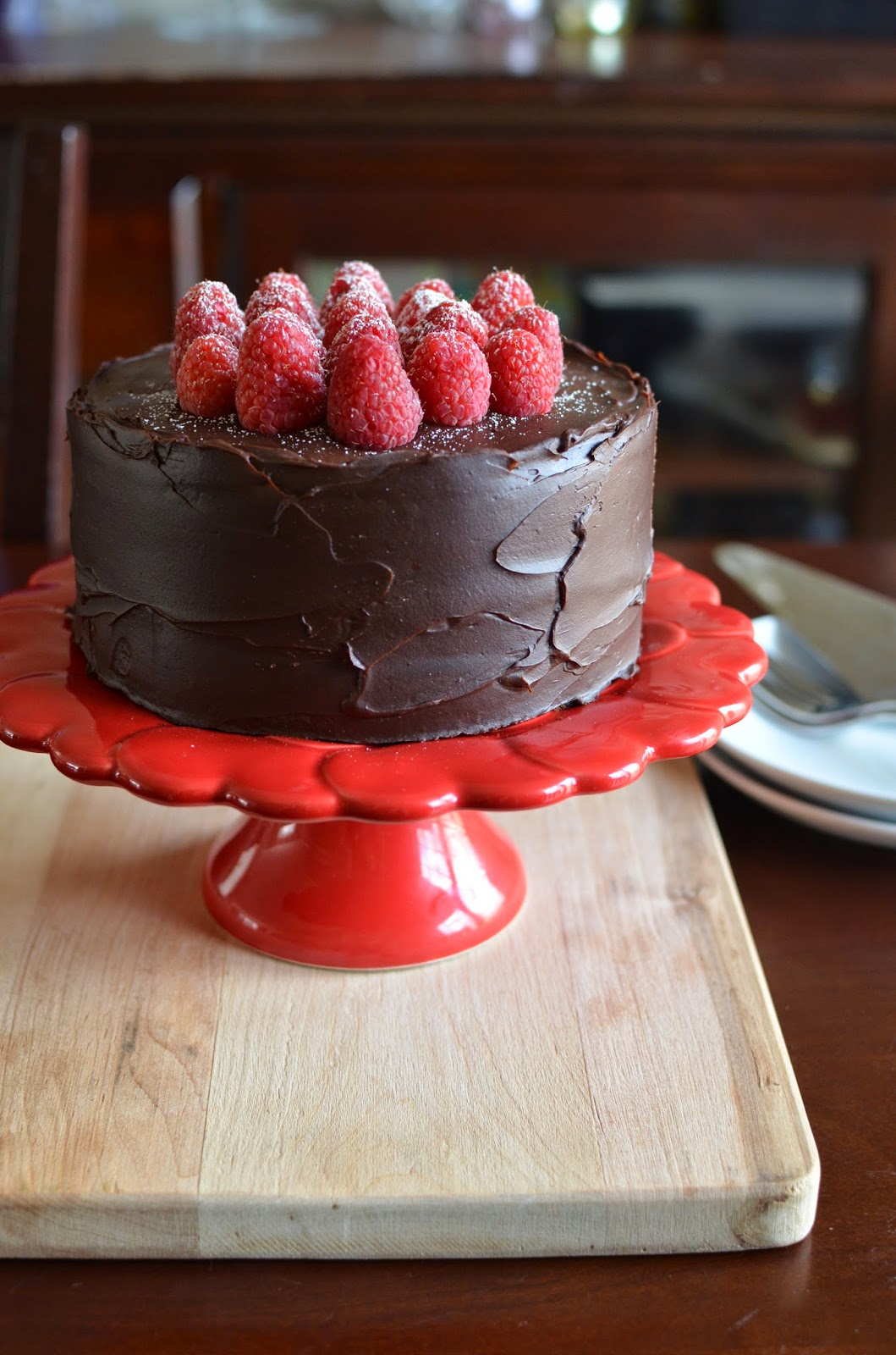 playing with flour chocolate raspberry layer cake