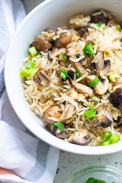 This hearty and flavorful rice side dish or meatless main dish is pure comfort food! Serve with your favorite protein, use any mushroom you love and enjoy every bite!