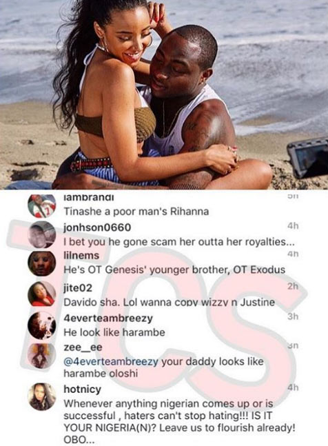 """""""He looks like Harambe"""": For appearing with Tinashe, oyibo people drag Davido on IG"""