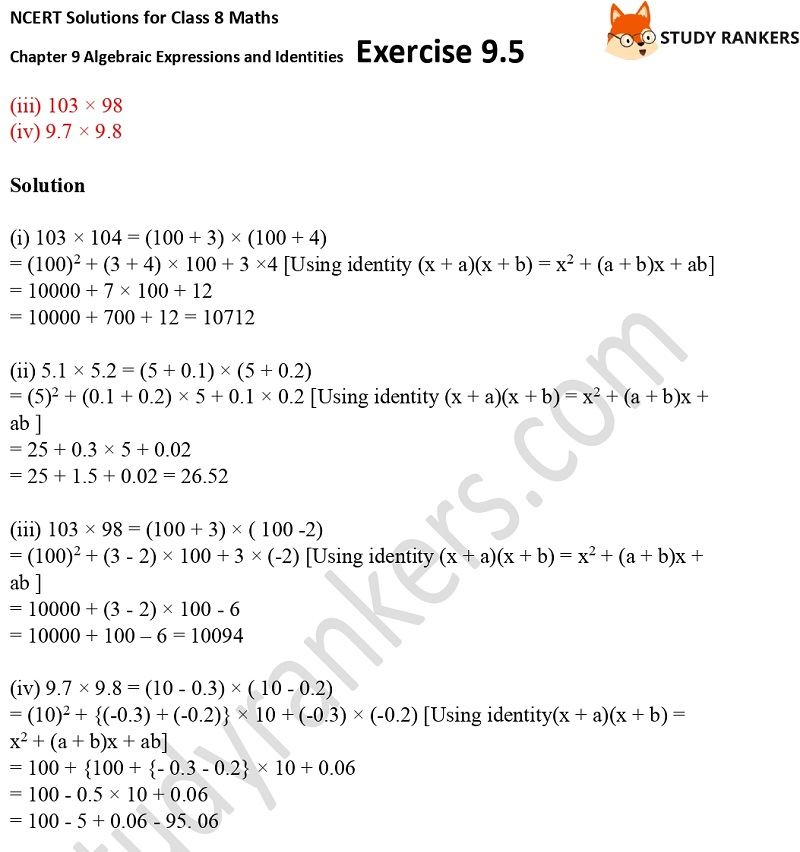 NCERT Solutions for Class 8 Maths Ch 9 Algebraic Expressions and Identities Exercise 9.5 9